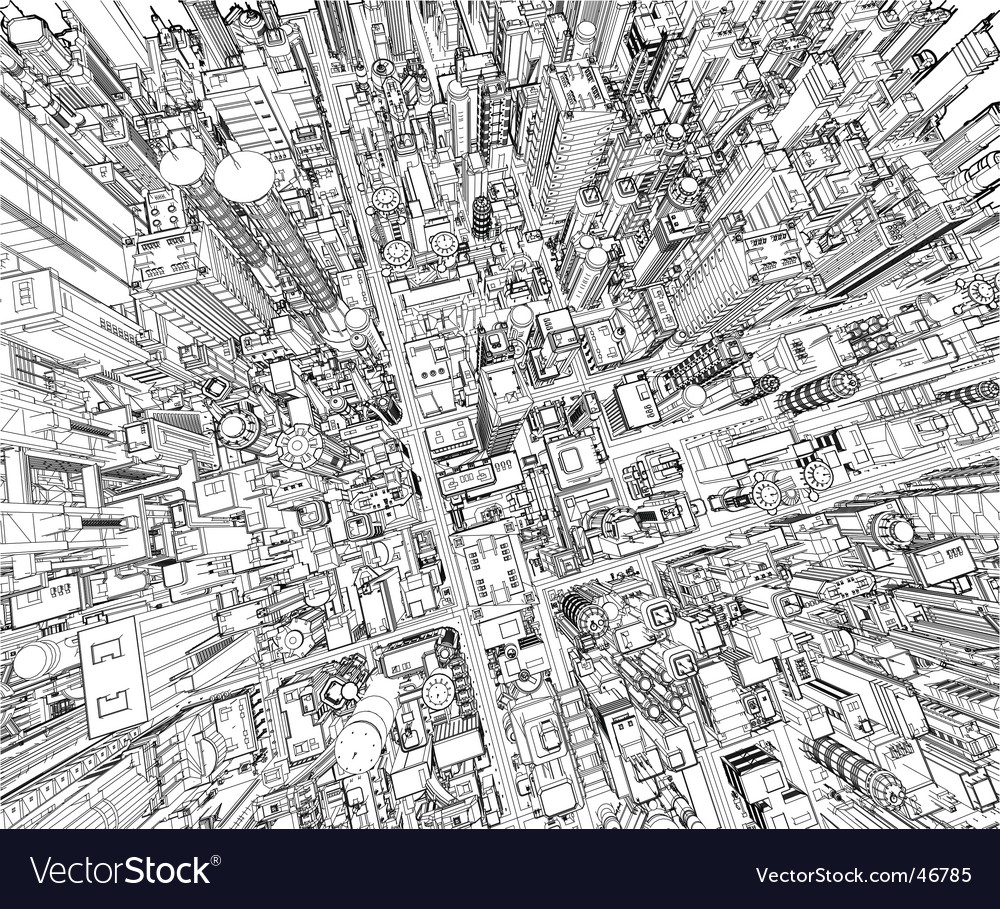 Futuristic city wireframe vector | Price: 3 Credit (USD $3)
