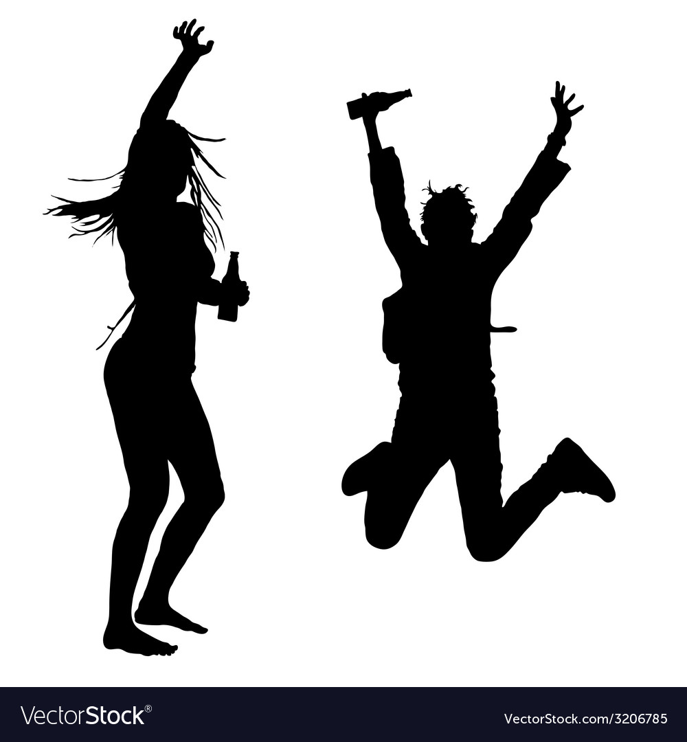 Girls dancing and jumping silhouette vector | Price: 1 Credit (USD $1)