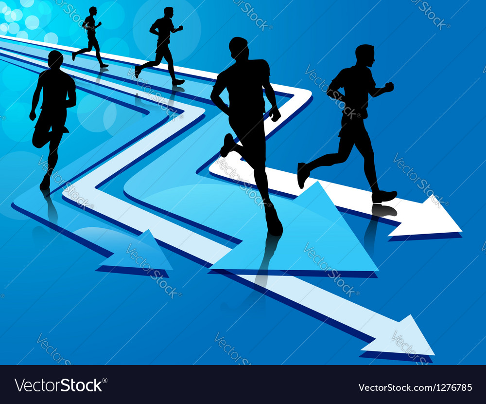 Group of five man running on arrow tracks vector | Price: 1 Credit (USD $1)