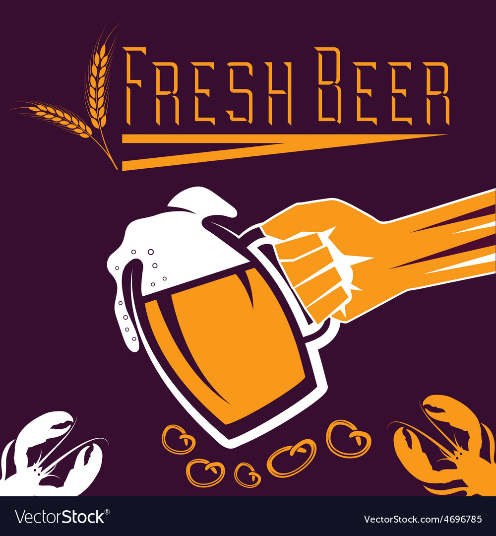 Hand with a glass of beer retro vector | Price: 1 Credit (USD $1)