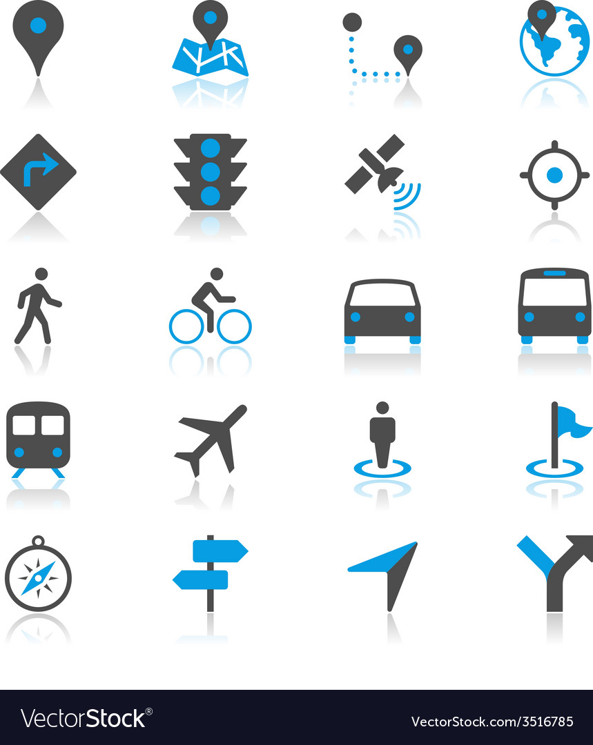 Navigation flat with reflection icons vector
