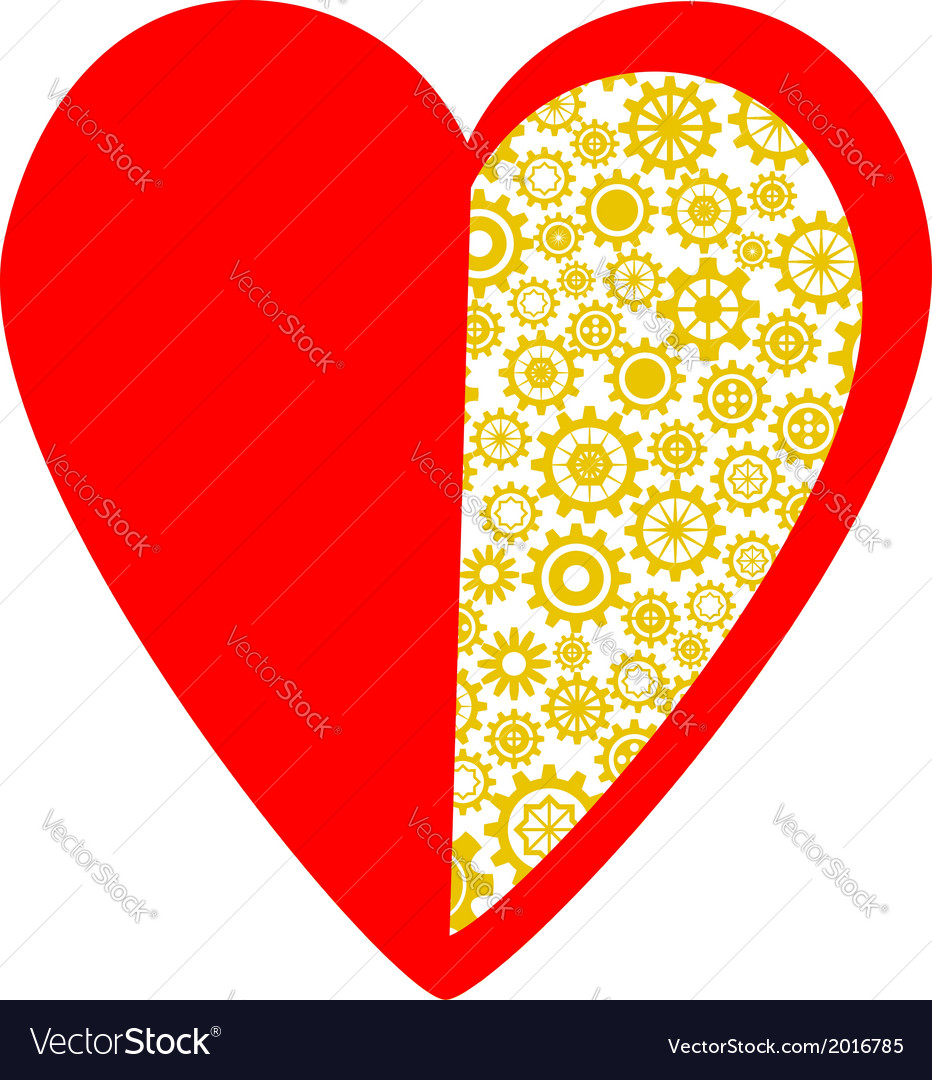 Red heart made of golden gear wheels vector | Price: 1 Credit (USD $1)