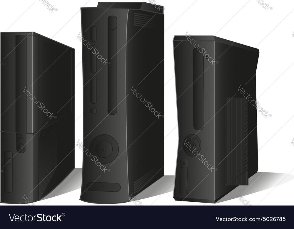 Set 3 black consoles vector