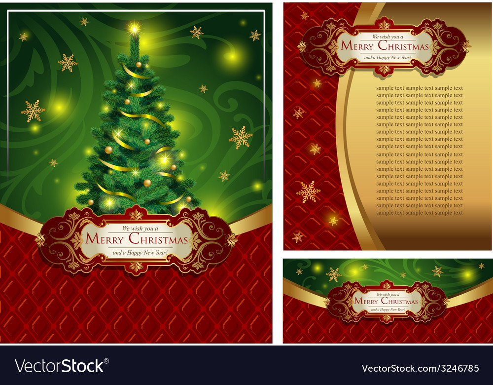 Set of a bright christmas greeting cards vector | Price: 3 Credit (USD $3)