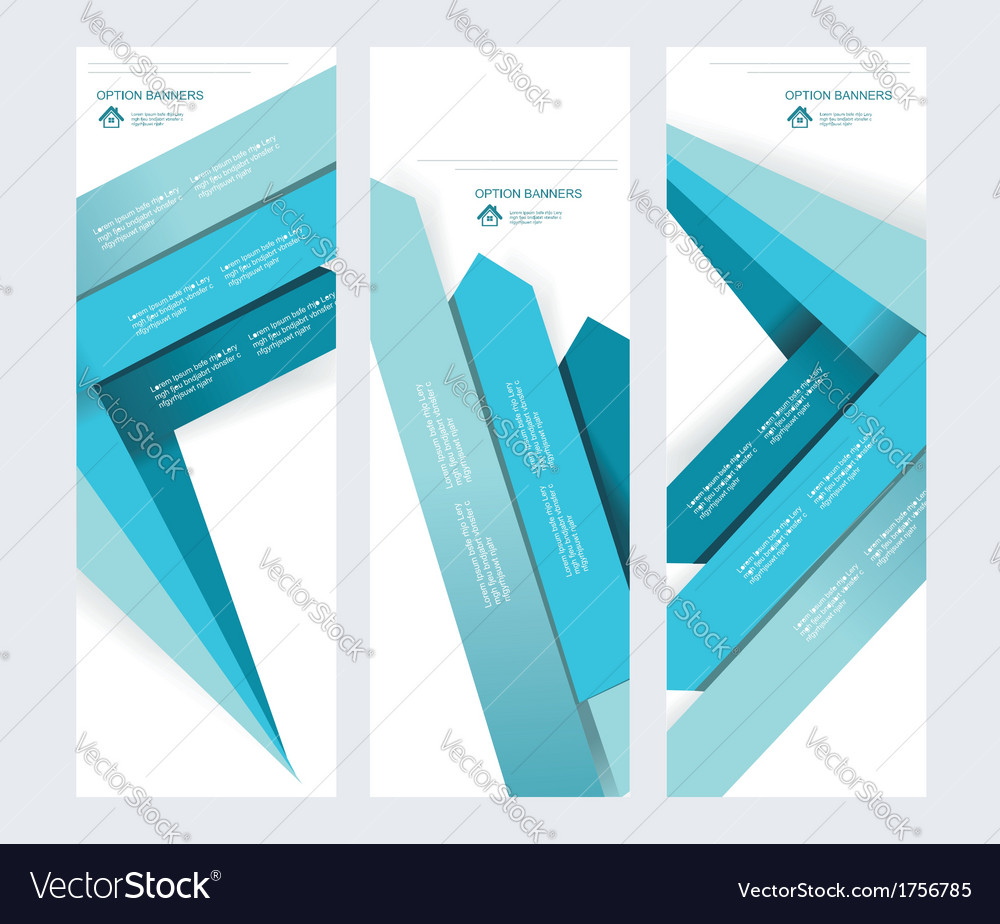 Set of abstract paper banners with blue arrows vector | Price: 1 Credit (USD $1)
