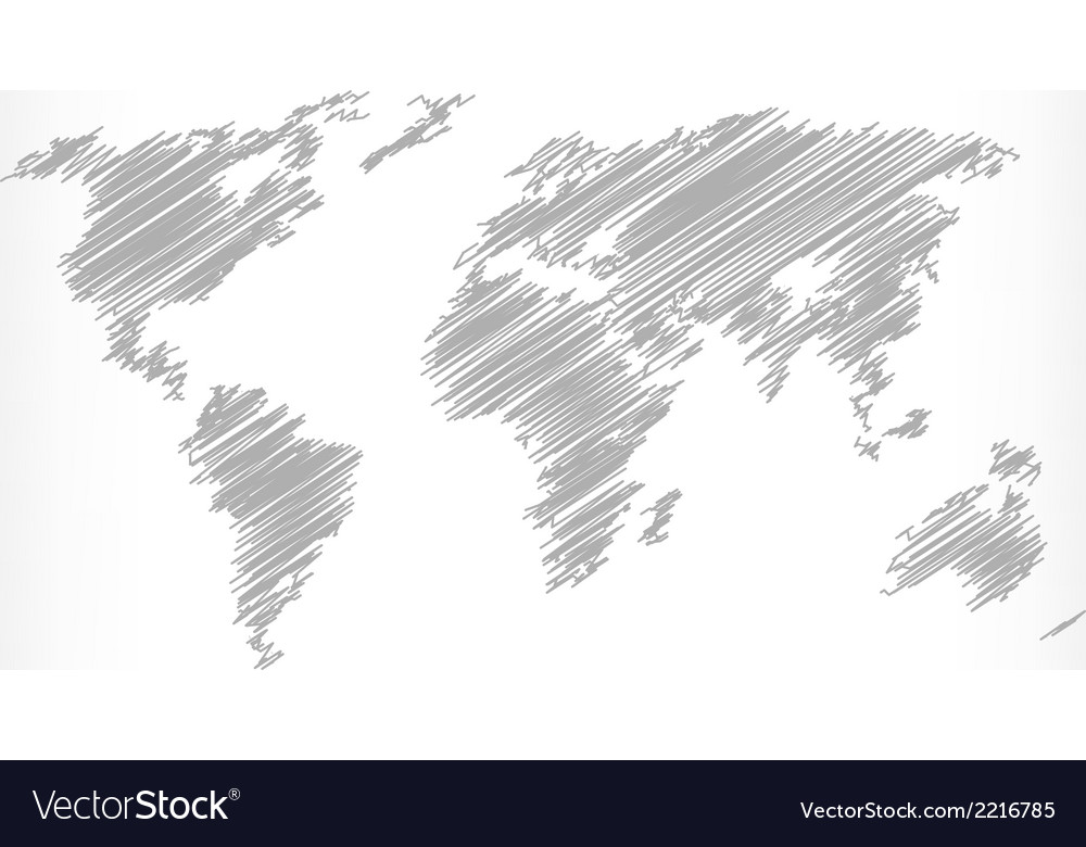 Sketch of world map vector | Price: 1 Credit (USD $1)