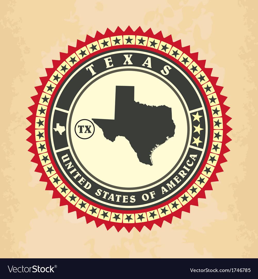 Vintage label-sticker cards of texas vector | Price: 1 Credit (USD $1)