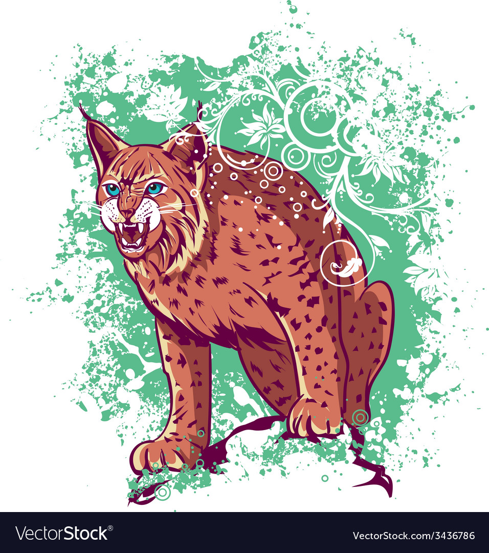 Bobcat on a green background vector | Price: 3 Credit (USD $3)