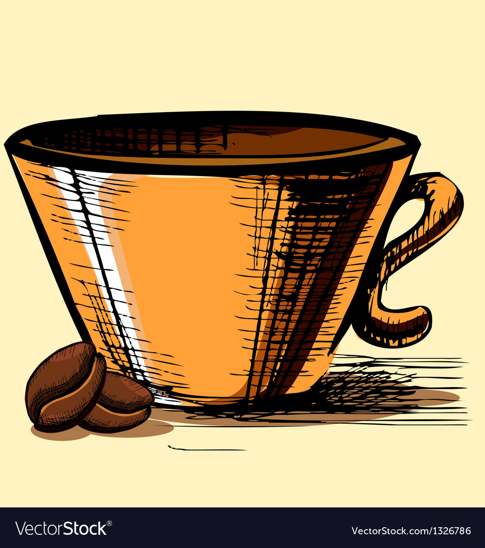 Cup with two coffee beans vector | Price: 1 Credit (USD $1)