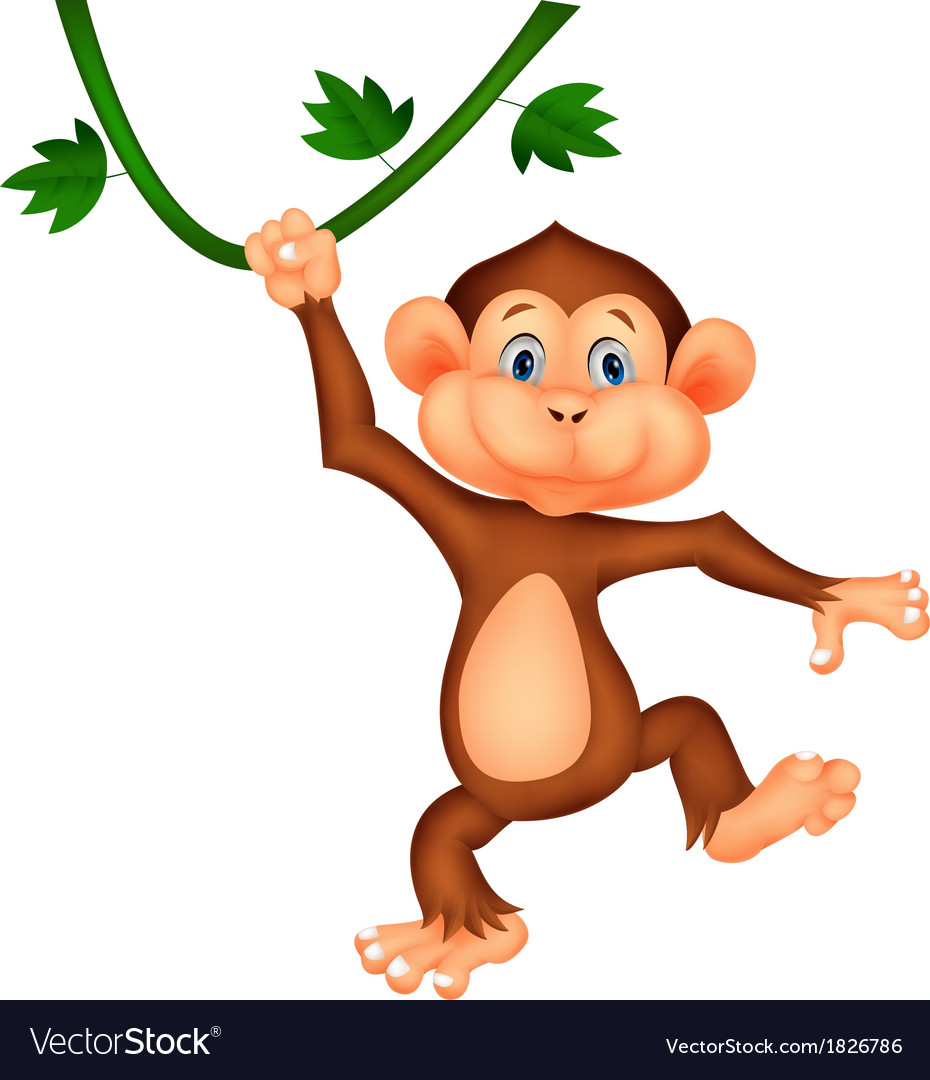 Cute monkey cartoon hanging vector   Price: 1 Credit (USD $1)