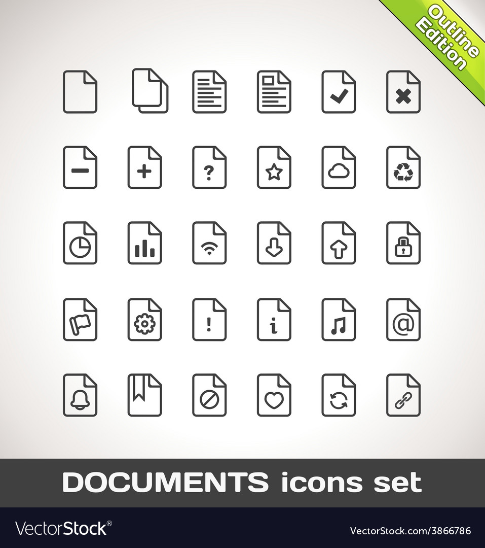 Documents icon set outline vector | Price: 1 Credit (USD $1)