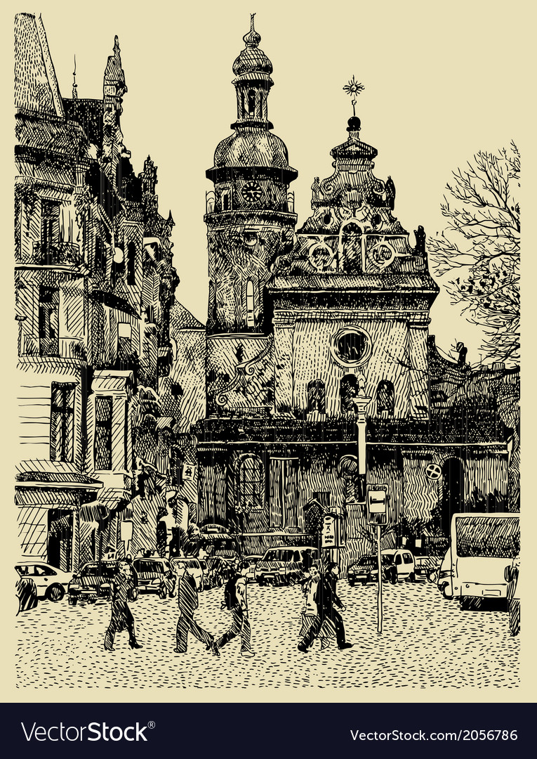 Original sketchy handmade drawing of lviv vector | Price: 1 Credit (USD $1)