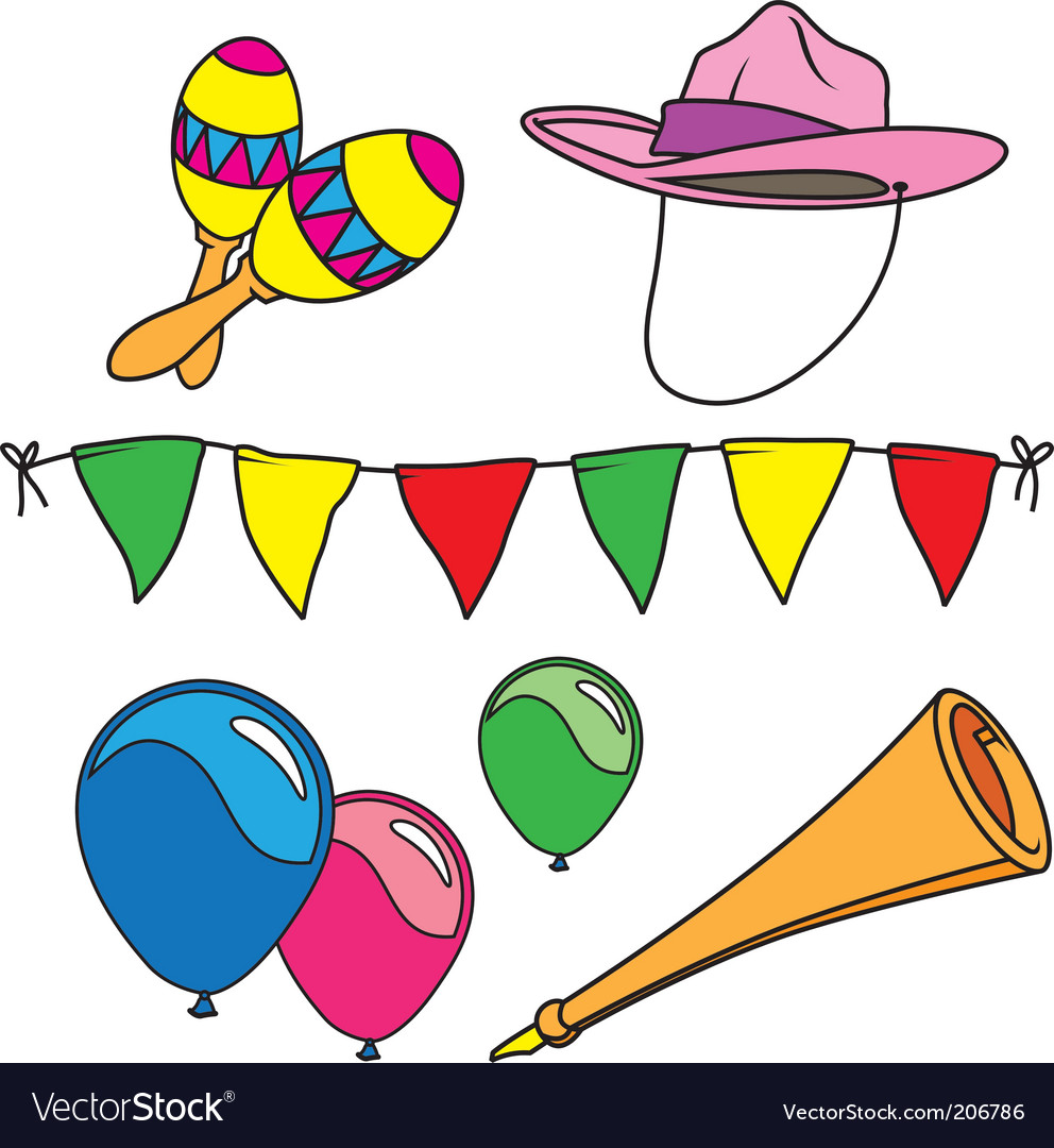 Party and carnival set isolated vector | Price: 1 Credit (USD $1)
