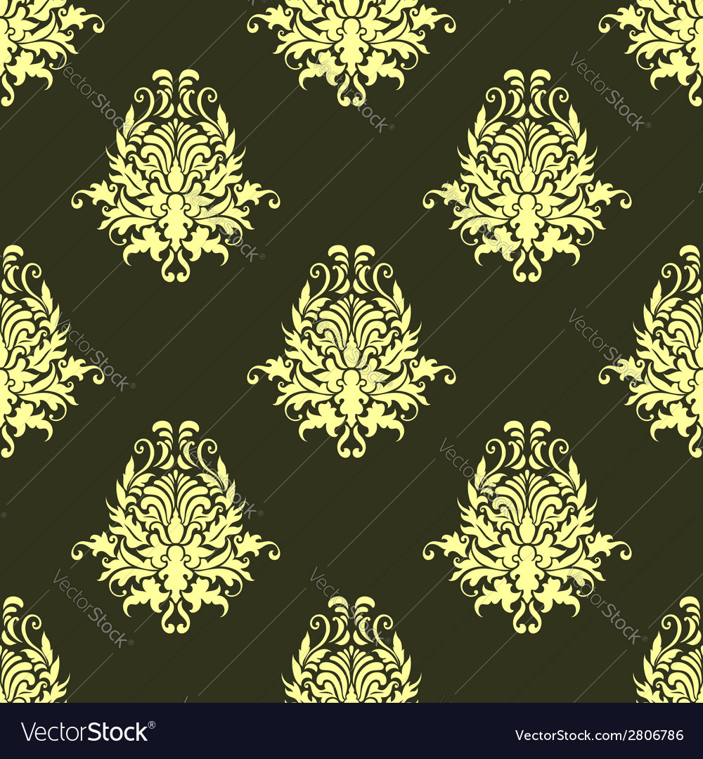 Retro yellow or light olive seamless pattern vector | Price: 1 Credit (USD $1)