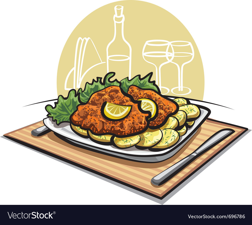 Schnitzel cutlet with boiled potato vector | Price: 3 Credit (USD $3)