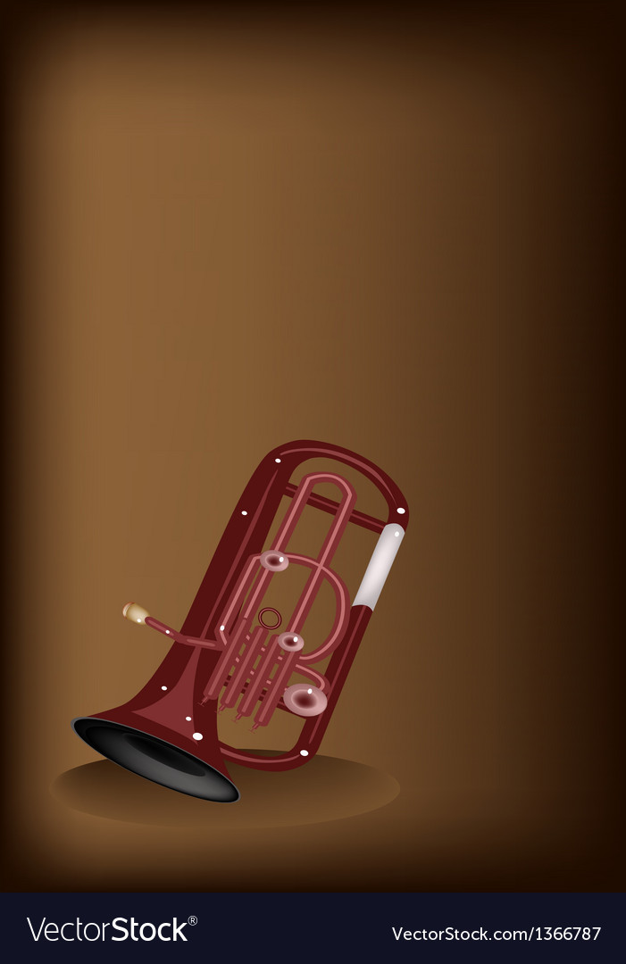 A musical euphonium on dark brown background vector | Price: 1 Credit (USD $1)