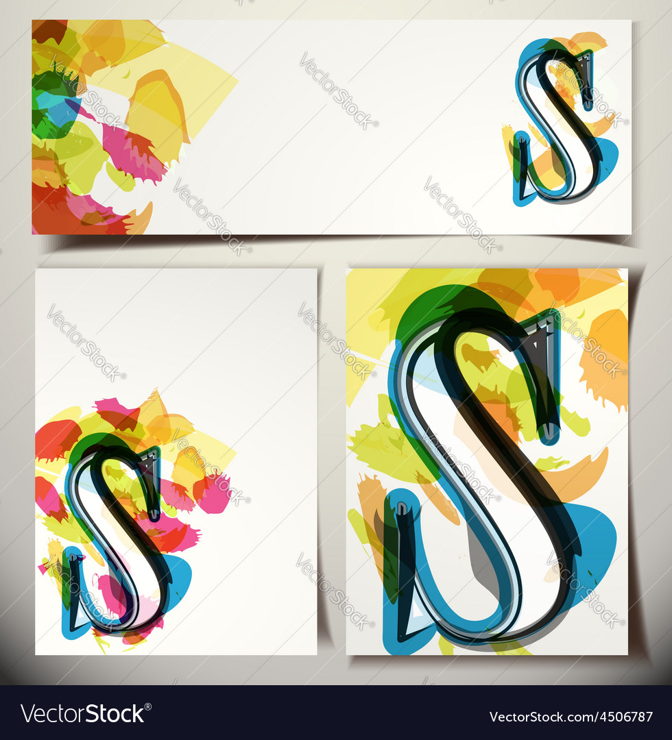 Artistic greeting card letter s vector | Price: 1 Credit (USD $1)
