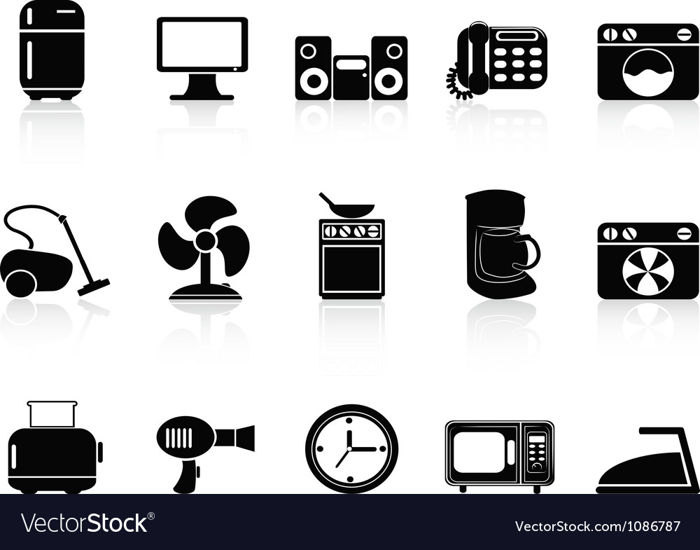 Black home devices icons set vector | Price: 1 Credit (USD $1)