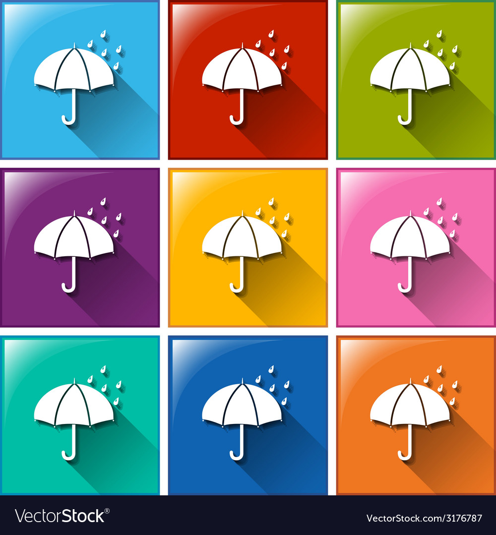 Buttons showing a rainy weather forecast vector | Price: 1 Credit (USD $1)