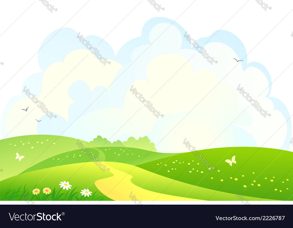 Green hills background vector | Price: 1 Credit (USD $1)