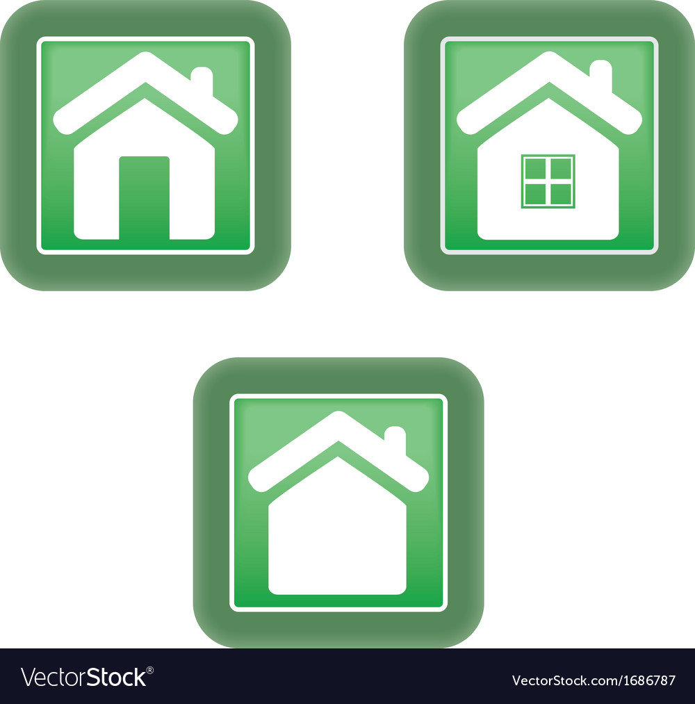 Green home icon vector | Price: 1 Credit (USD $1)