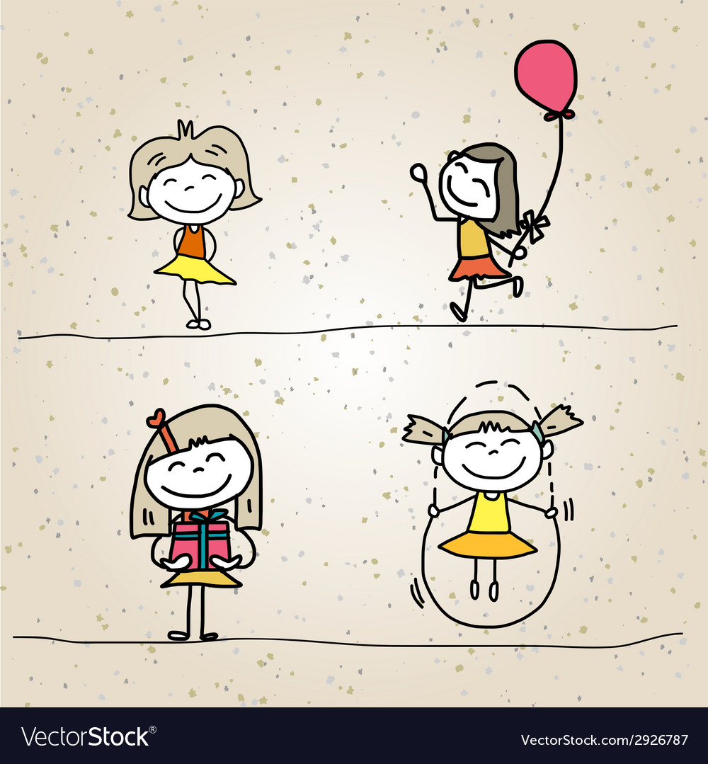 Hand drawing cartoon character happy kids vector | Price: 1 Credit (USD $1)
