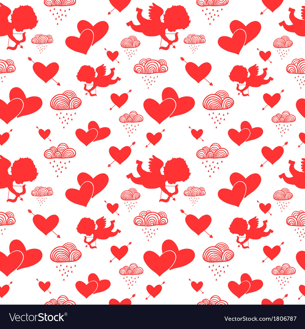 Love cupids hearts arrows and clouds seamless vector | Price: 1 Credit (USD $1)