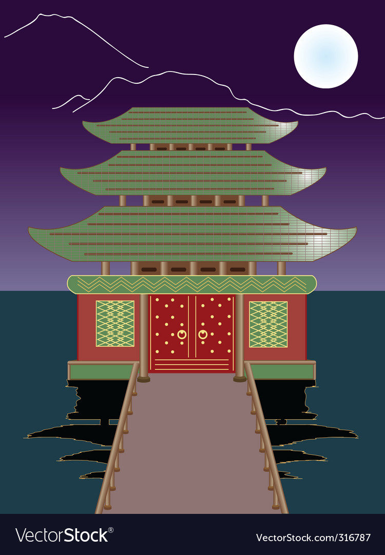 night buddhist temple vector   Price: 1 Credit (USD $1)