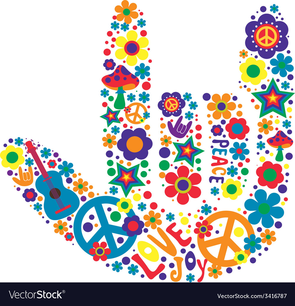 Psychedelic hand sign design with many elements vector | Price: 1 Credit (USD $1)