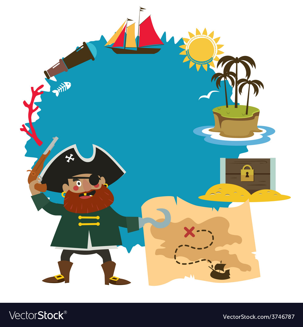 Treasure island design with oirate captain vector | Price: 1 Credit (USD $1)