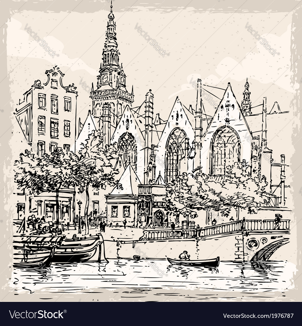 Vintage hand drawn view of old church in amsterdam vector | Price: 1 Credit (USD $1)