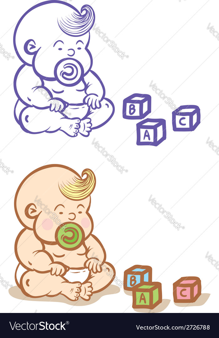 Baby and cubes vector | Price: 1 Credit (USD $1)
