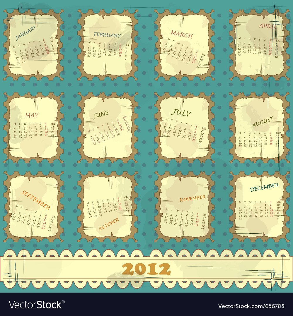 Calendar 2012 vector | Price: 1 Credit (USD $1)