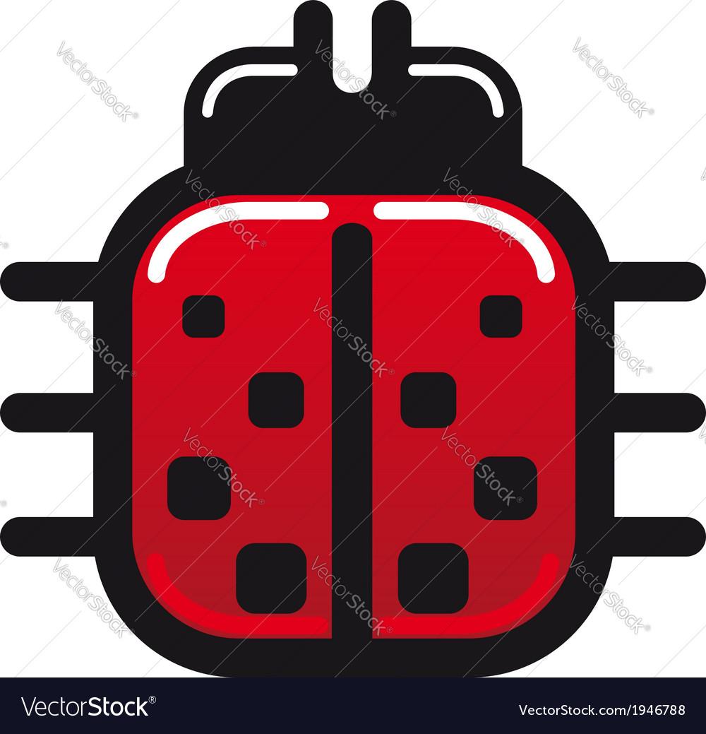 Cartoon ladybug glossy icon vector | Price: 1 Credit (USD $1)