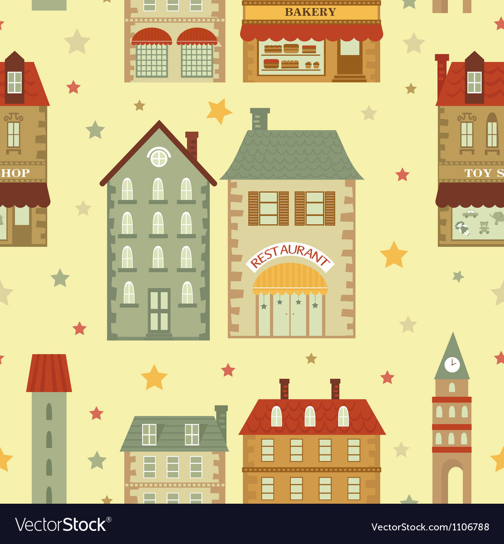 Cute city pattern vector | Price: 1 Credit (USD $1)
