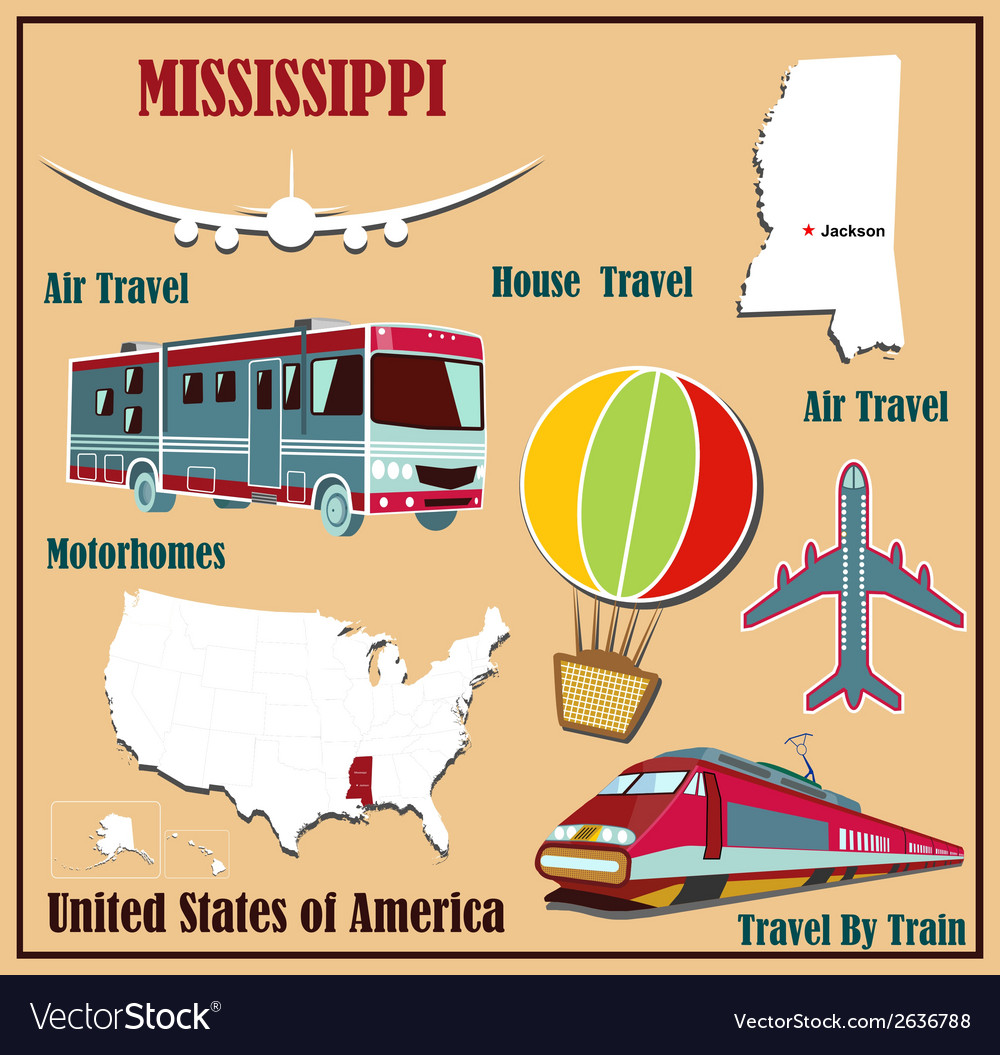 Flat map of mississippi vector | Price: 1 Credit (USD $1)