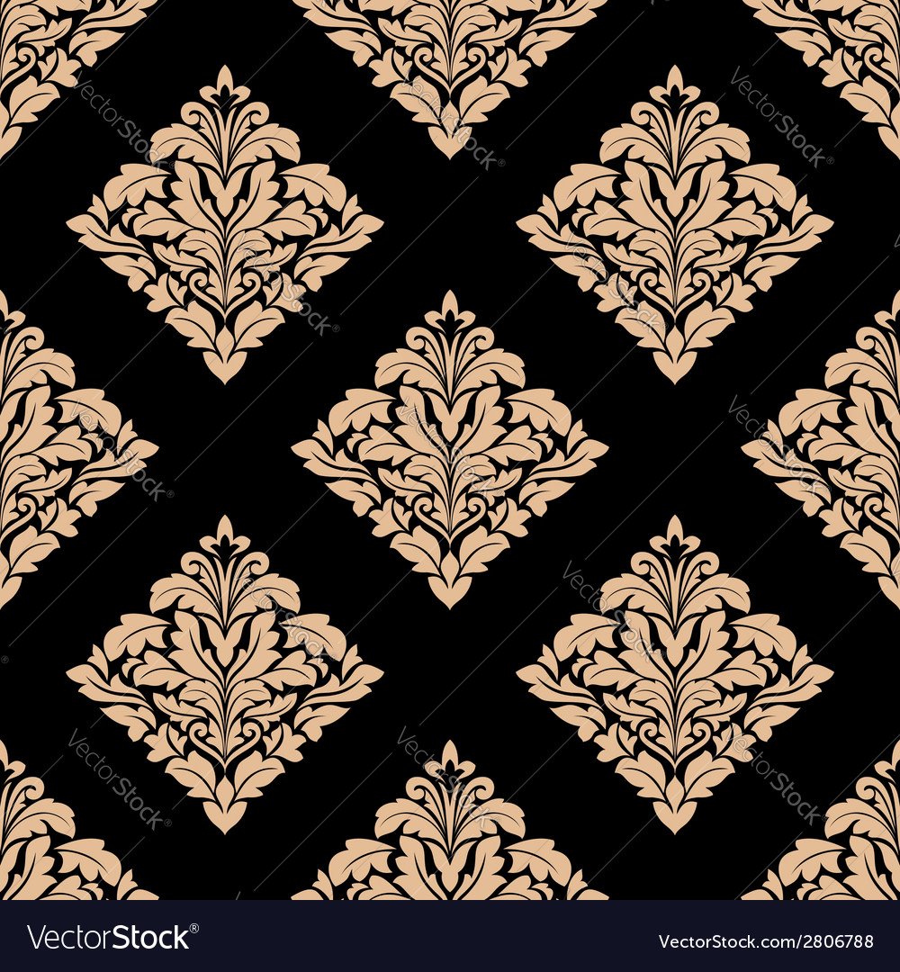 Floral beige damask seamless pattern vector | Price: 1 Credit (USD $1)