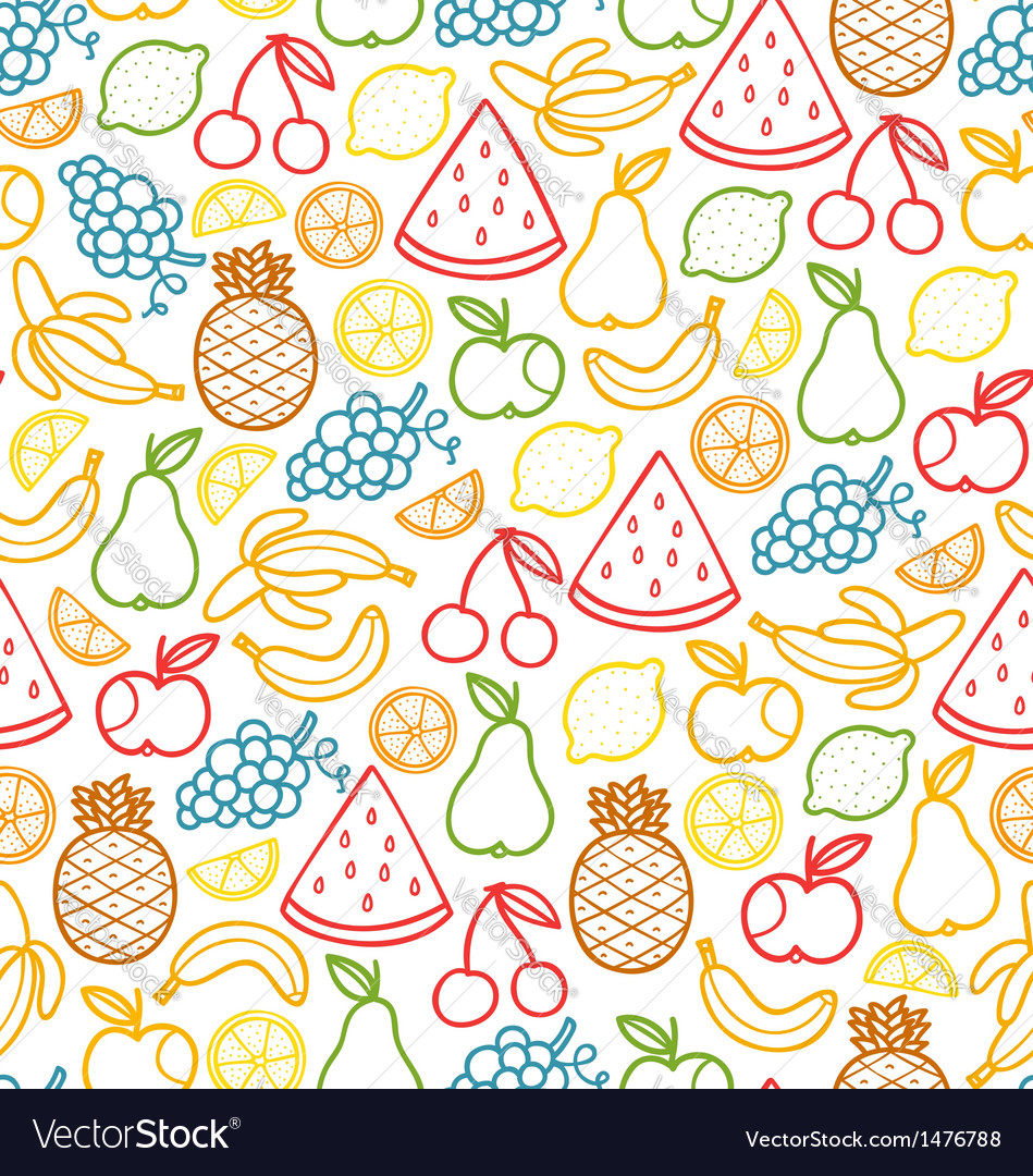 Fruits doodle pattern vector | Price: 1 Credit (USD $1)