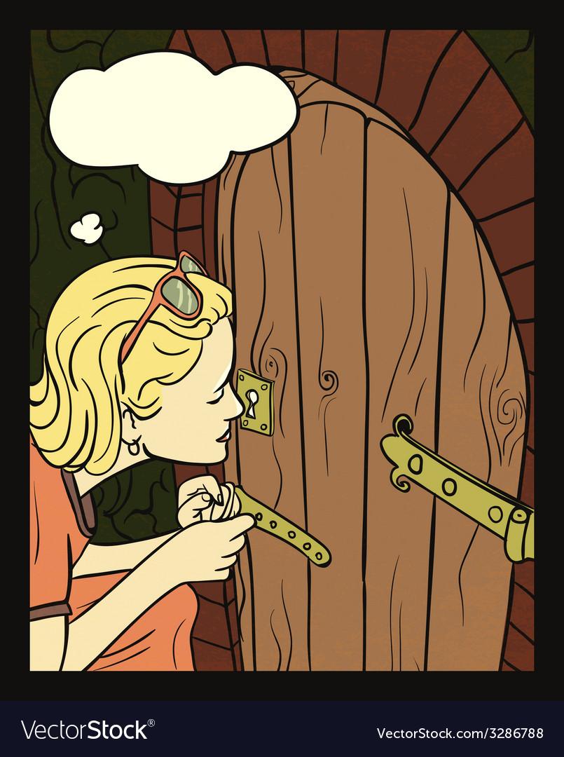 Girl peeking at a small door vector | Price: 1 Credit (USD $1)