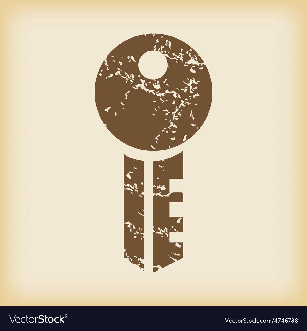Grungy key icon vector | Price: 1 Credit (USD $1)