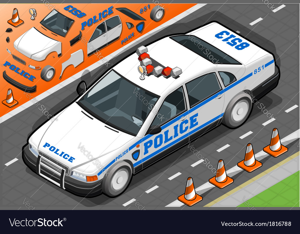 Isometric police car in front view vector | Price: 1 Credit (USD $1)