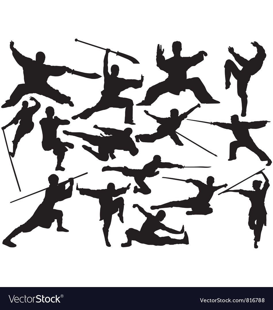 Kung fu silhouettes vector | Price: 1 Credit (USD $1)