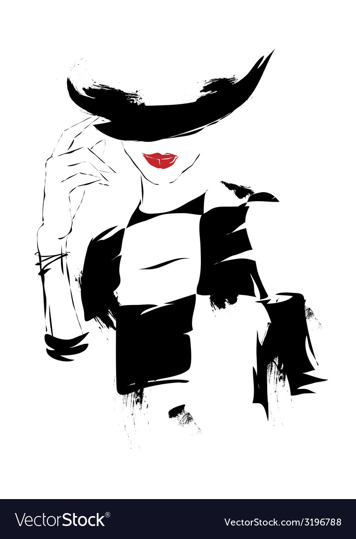 Modern girl sketch white background hat vector | Price: 1 Credit (USD $1)