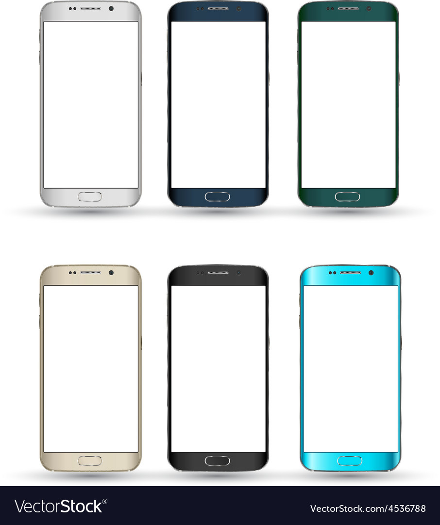 Realistic smartphones set isolated mobile phone vector | Price: 1 Credit (USD $1)