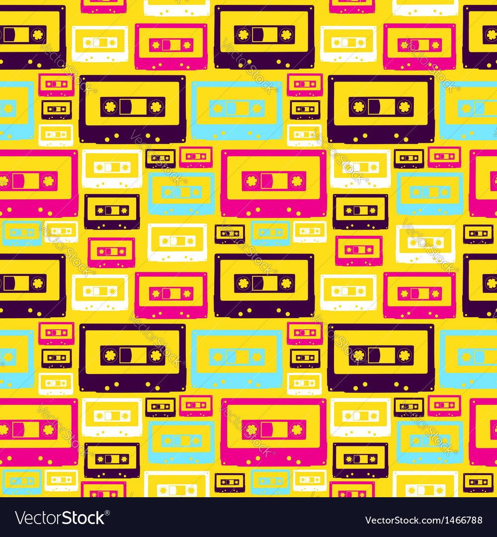 Retro pop audio tapes pattern vector | Price: 1 Credit (USD $1)