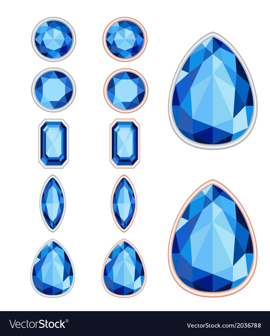 Set of five forms of sapphire cut and two kinds of vector | Price: 1 Credit (USD $1)