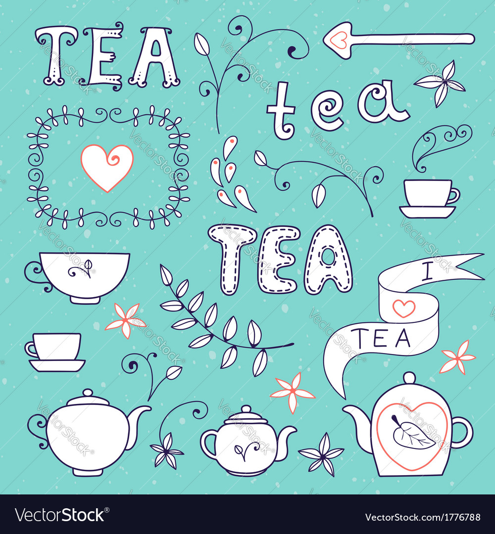 Tea card set of elements for design vector   Price: 1 Credit (USD $1)