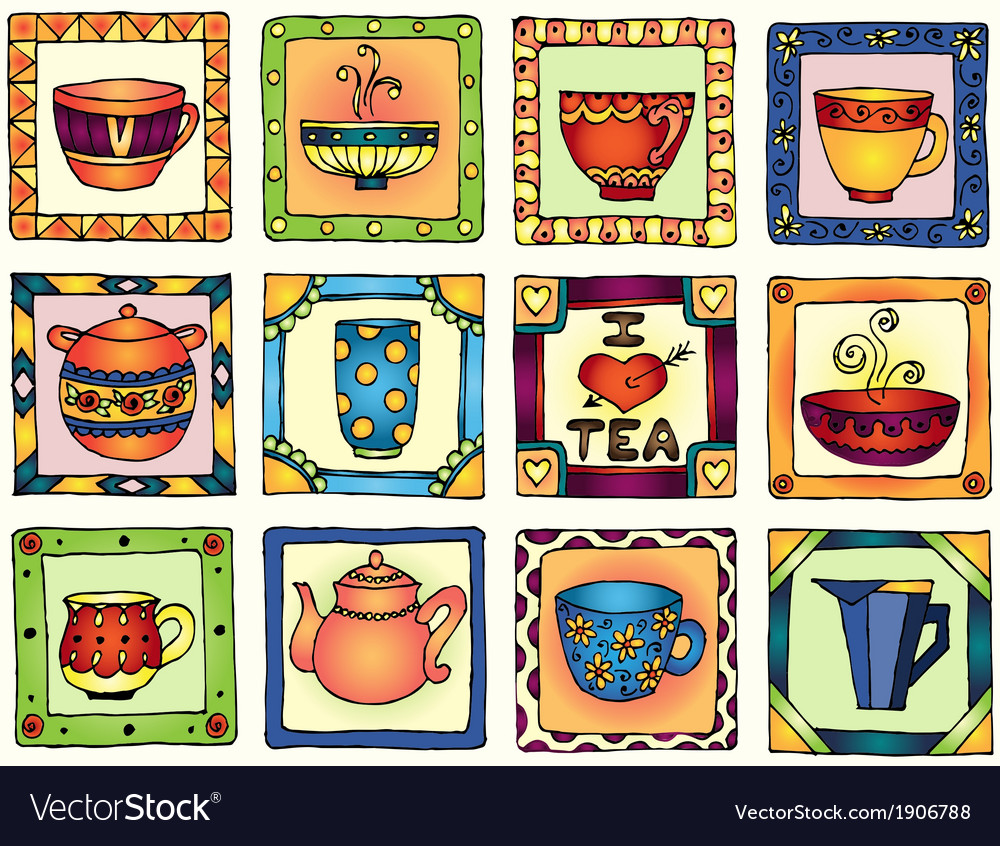 Tea cups and pots frame funny banner hand drawn vector | Price: 1 Credit (USD $1)