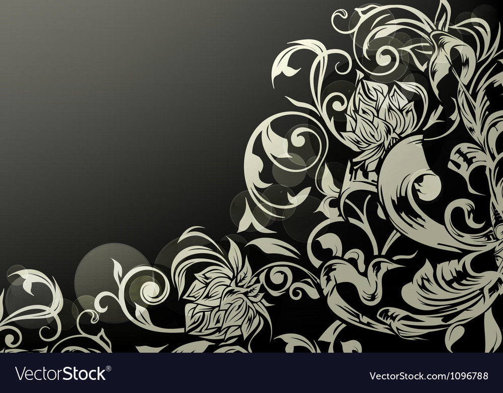 Wallpaper decor on black vector | Price: 1 Credit (USD $1)