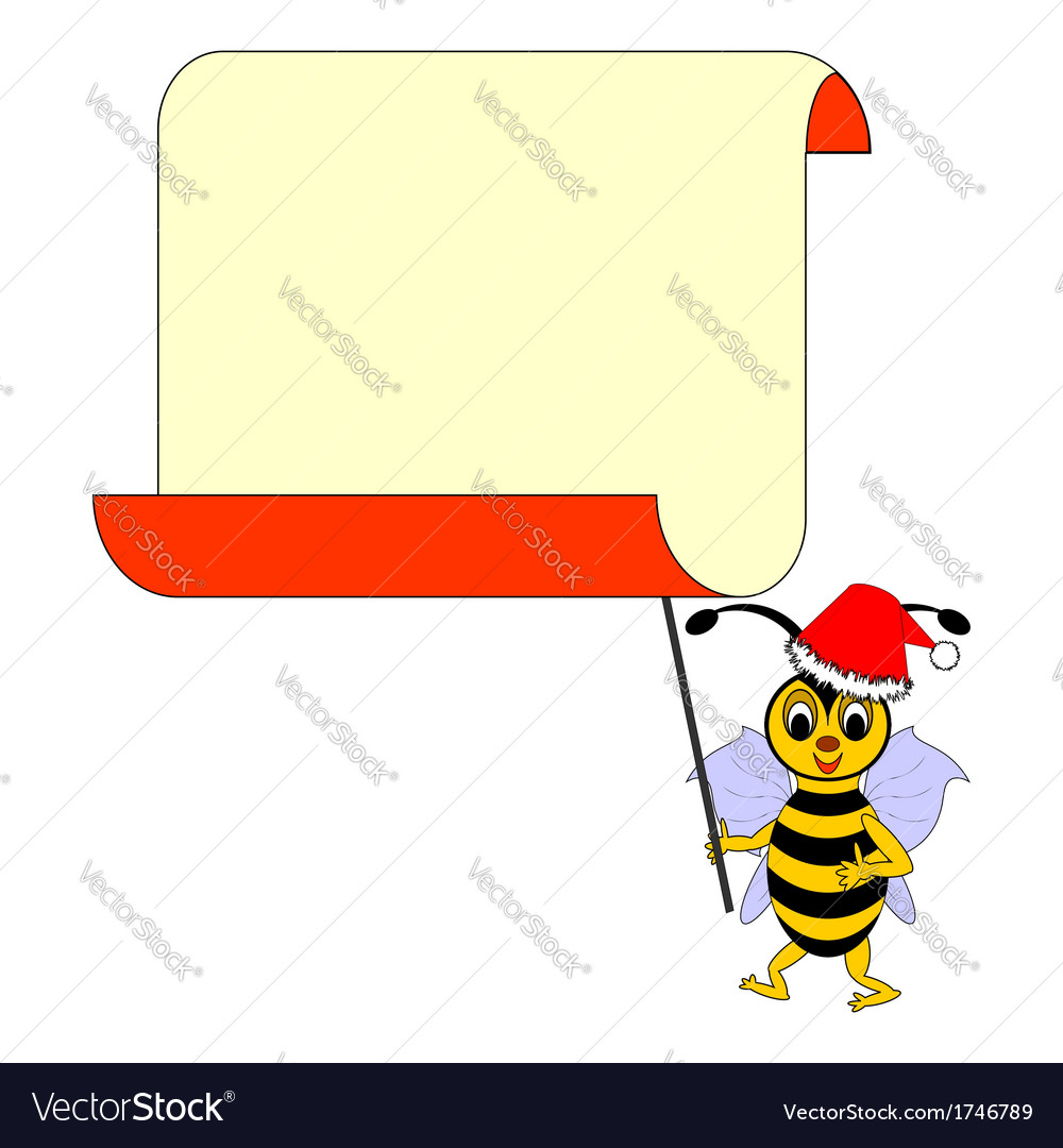A funny christmas cartoon bee with a blank paper vector | Price: 1 Credit (USD $1)